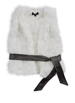 Girls 7-16 Faux Fur Belted Vest - 3637038340030