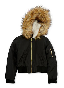 Girls 7-16 Black Faux Fur Lined Hood Bomber Jacket - 3637051060078