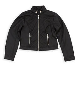 Girls 7-16 Quilted Faux Leather Zip Up Jacket - 3637051060084