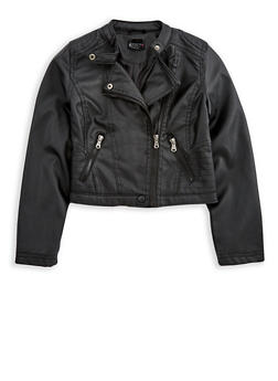 Girls 7-16 Faux Leather Zip Up Jacket - 3637051060088