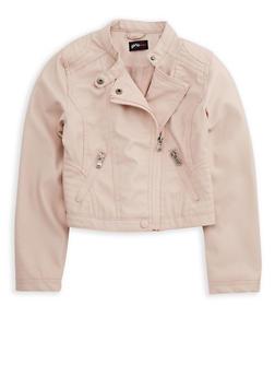 Girls 7-16 Faux Leather Jacket - BLUSH - 3637051060089