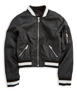 Girls 7-16 Black Faux Leather Bomber Jacket - 3637051060090