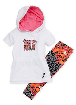 Baby Girl Trukfit Graphic Hooded Pocket Dress and Leggings Set - 3640073452007