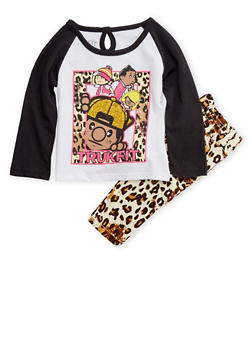 Baby Girl Trukfit Graphic Top with Leopard Print Pants Set - 3640073452015