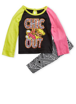 Baby Girl Trukfit Color Block Graphic Top with Abstract Print Pants Set - 3640073452016