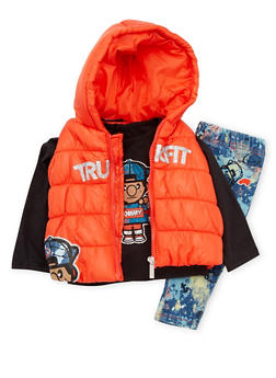 Baby Girl Trukfit Hooded Vest with Top and Jeans Set - 3640073452105