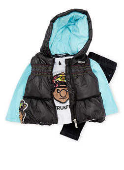 Baby Girl Trukfit Puffer Vest and Tee with Jeggings Set - 3640073452107