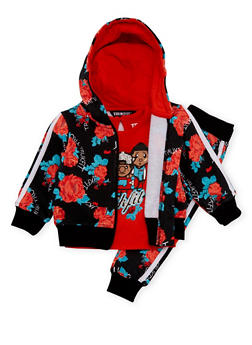 Baby Girl Trukfit Floral Print Sweatsuit Set - 3641073452105