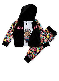 Baby Girl Trukfit Hoodie and Tee with Joggers Set - 3641073452108