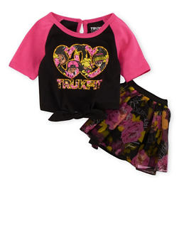 Baby Girl Trukfit Tie Front Graphic Top and Floral Tutu Set with Graphic - 3642073452002