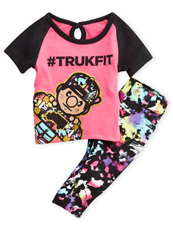 Baby Girl Trukfit Graphic Tee and Printed Jeans Set - 3644073453003