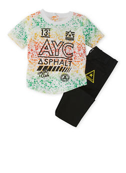 Baby Boy Splatter T-Shirt and Jeans Set - 3652073451001
