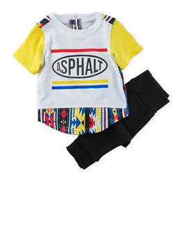 Baby Boys Asphalt Tee with Dropped Crotch Joggers Set - 3653073451002