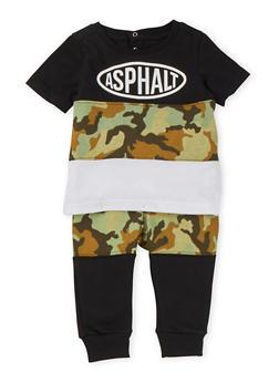 Baby Boys Asphalt Camo T-Shirt and Joggers Set - 3653073451005