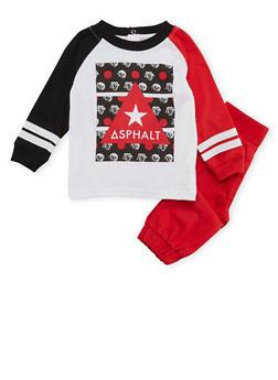 Baby Boy Asphalt Shirt and Joggers Set - 3653073451016