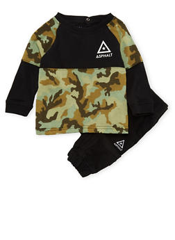 Baby Boy Asphalt Top and Twill Joggers Set in Camo Print - 3653073451017
