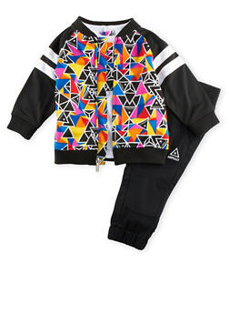 Baby Boy Asphalt Printed Jacket and Tee with Joggers Set - 3653073451100