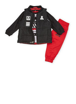 Baby Boy Asphalt Vest and Graphic Top with Moto Joggers Set - 3653073451106