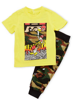 Baby Boy Trukfit Graphic Tee with Camo Joggers Set - 3653073452004
