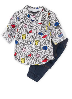Baby Boy Trukfit Printed Shirt and Denim Joggers Set - 3653073452017