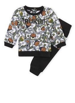 Baby Boy Trukfit Money Print Sweatshirt and Sweatpants Set - 3653073452024