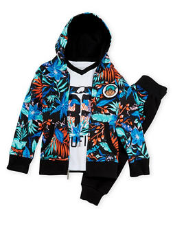 Baby Boy Trukfit Top Hoodie and Joggers Set with Floral Print - 3653073452103