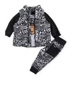 Baby Boy Trukfit Puffer Vest Top and Joggers Set with Trukfit Life Print - 3653073452105