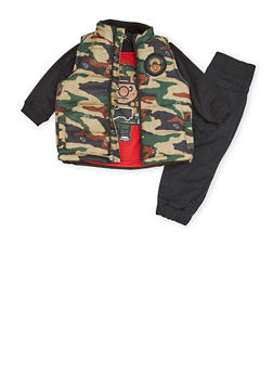 Baby Boy Trukfit Graphic Top with Vest and Joggers Set - 3653073452106