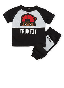 Baby Boy Trukfit Color Block Print Tee and Joggers with Lil Tommy Graphic - 3654073453005