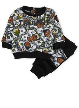 Baby Boy Trukfit Printed Sweatshirt and Joggers Set - 3654073453014