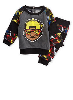 Baby Boy Trukfit Graphic Sweatshirt with Jogger Set - 3654073453015