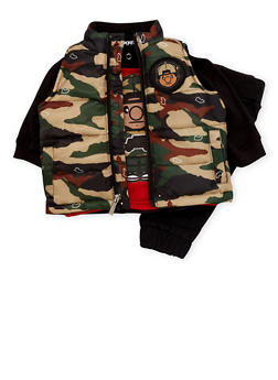 Baby Boy Trukfit Camo Vest and Graphic Top with Joggers Set - 3654073453101