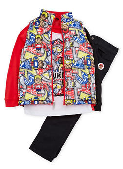 Baby Boy Trukfit Vest and Graphic Top with Jeans Set - 3654073453102