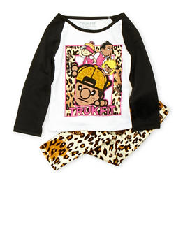 Toddler Girls Trukfit Glitter Graphic Top with Leopard Print Pants Set - 3670073452015