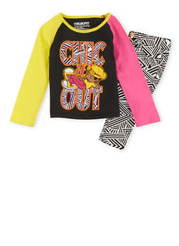 Toddler Girls Trukfit Shirt and Printed Jeans Set - 3670073452016