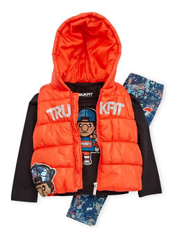 Toddler Girls Trukfit Puffer Vest with Tee and Jeans Set - 3670073452105