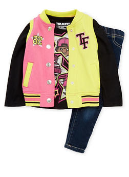Toddler Girls Trukfit Varsity Vest and Top with Jeggings Set - 3670073452108