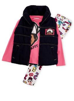 Toddler Girls Trukfit Top with Puffer Vest and Pants Set - 3670073452110