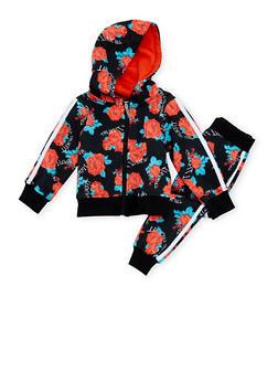 Toddler Girls Trukfit Floral Print Sweatsuit Set - 3671073452105