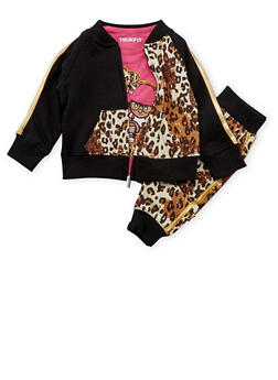 Toddler Girls Trukfit Printed Jacket with Graphic Tee and Joggers Set - 3671073452106