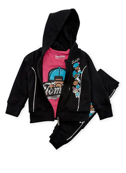 Toddler Girls Trukfit Graphic Hoodie and Tee with Joggers Set - 3671073452107