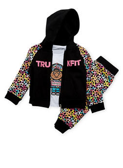 Toddler Girls Trukfit Printed Hoodie and Tee with Joggers Set - 3671073452108