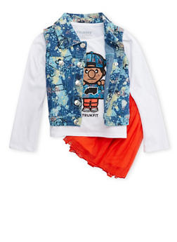 Toddler Girls Trukfit Denim Vest and Graphic Top with Tutu Set - 3672073452101