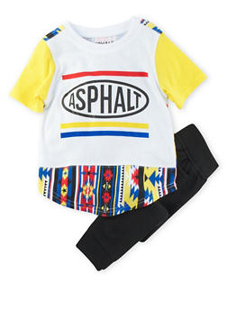 Toddler Boys Printed T-Shirt and Solid Joggers Set - 3681073451002