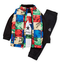 Toddler Boys Asphalt Puffer Vest with Shirt and Joggers - 3681073451105