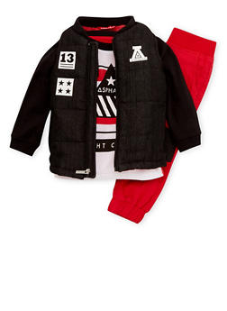 Toddler Boys Asphalt Graphic Top with Vest and Joggers Set - 3681073451106