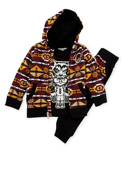 Toddler Boys Trukfit Three Piece Set with Southwestern Print - 3681073452102