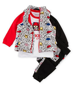 Toddler Boys Trukfit Graphic Shirt Vest and Joggers Set - 3681073452104
