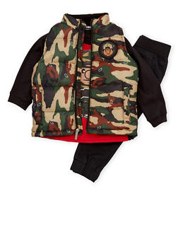 Toddler Boys Trukfit Camo Vest and Graphic Tee with Joggers - 3681073452106