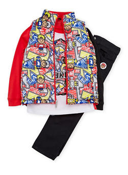 Toddler Boys Trukfit Printed Vest and Top with Jeans Set - 3681073452107